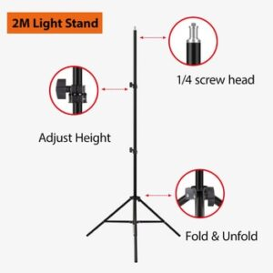 79in 2M Light Stand Tripod With 1/4 Screw Head For Photo Studio Softbox Video Flash Umbrellas Reflector Ring lamp Light