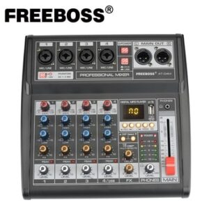 Freeboss AT-04M Portable DC 5V Power Supply Bluetooth USB Interface 4 Channel 16 Effect PC record Sound Card Audio Mixer Console