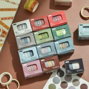 JIANWU 5pcs/set 10mmx2m Simple Grids Series Cute Washi Tape Set DIY Notebook Scrapbook Masking Tape School Supplies Stationery