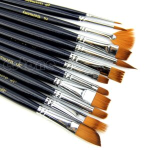 12Pcs Nylon Hair Acrylic Oil Painting Watercolor Artist Paint Brush Supplies Set R91A