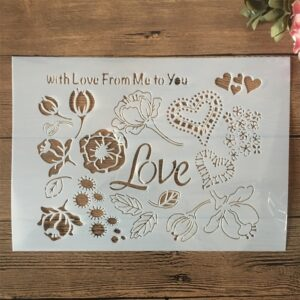 A4 29cm Love Words Heart Flower DIY Layering Stencils Wall Painting Scrapbook Coloring Embossing Album Decorative Template