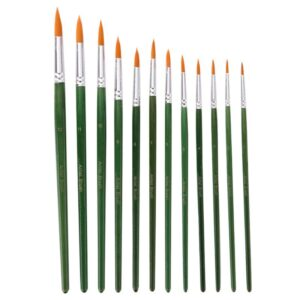 12pcs Acrylic Paint Brushes Pointed Paint Brushes Nylon Hair Watercolor Brush