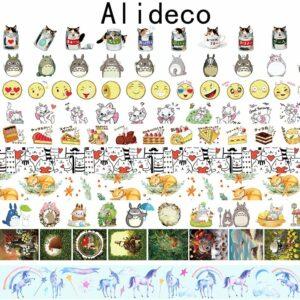 Alideco Decorative Adhesive Washi Masking Tapes Animals Cat Cake Scrapbooking DIY Paper Japanese Stickers Size 1.5cm*10m