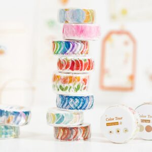 100pcs Color circle travel Washi Tape Strawberry petal Adhesive Tape DIY Scrapbooking Round Stickers Label Japanese Masking tape
